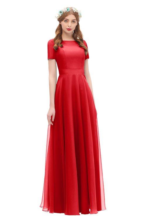 ColsBM Morgan Red Bridesmaid Dresses Zip up A-line Traditional Sash Bateau Short Sleeve