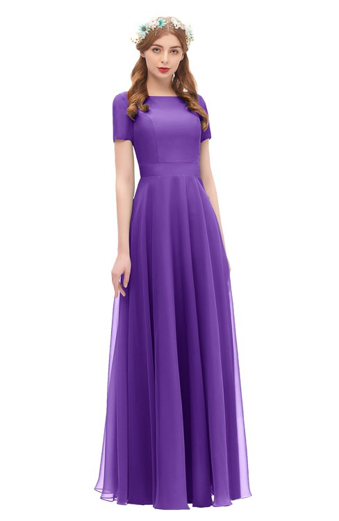 ColsBM Morgan Royal Purple Bridesmaid Dresses Zip up A-line Traditional Sash Bateau Short Sleeve