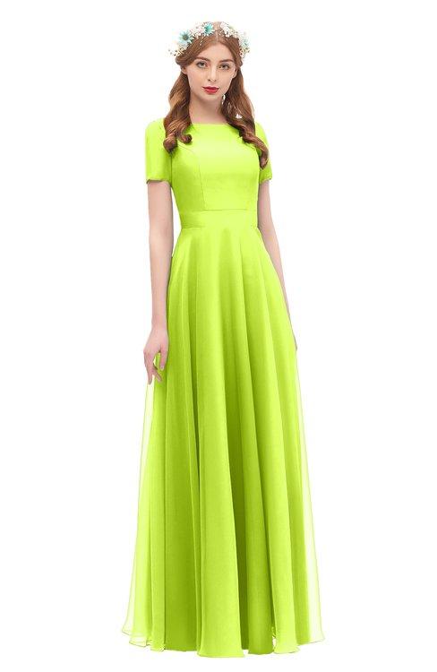 ColsBM Morgan Sharp Green Bridesmaid Dresses Zip up A-line Traditional Sash Bateau Short Sleeve