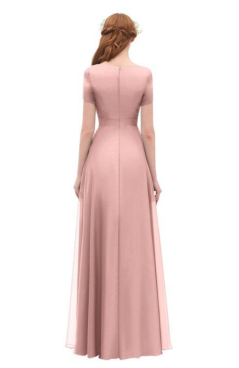 0fb6be42e43 ... ColsBM Morgan Silver Pink Bridesmaid Dresses Zip up A-line Traditional  Sash Bateau Short Sleeve ...