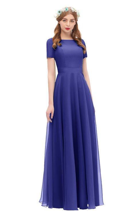 ColsBM Morgan Spectrum Blue Bridesmaid Dresses Zip up A-line Traditional Sash Bateau Short Sleeve