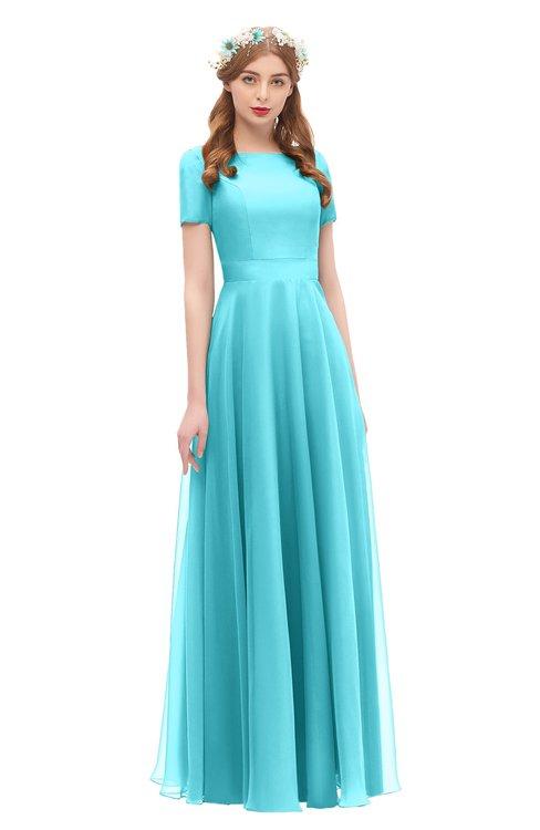 ColsBM Morgan Turquoise Bridesmaid Dresses Zip up A-line Traditional Sash Bateau Short Sleeve