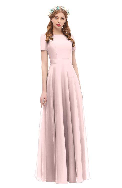 ColsBM Morgan Veiled Rose Bridesmaid Dresses Zip up A-line Traditional Sash Bateau Short Sleeve