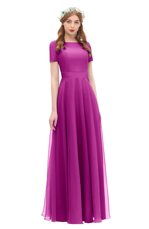 ColsBM Morgan Vivid Viola Bridesmaid Dresses Zip up A-line Traditional Sash Bateau Short Sleeve