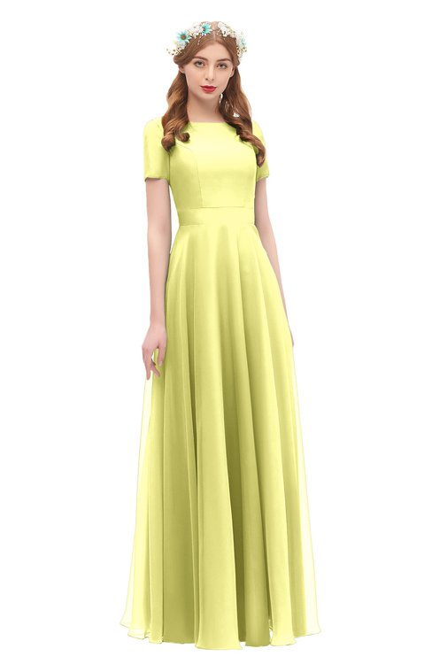 ColsBM Morgan Wax Yellow Bridesmaid Dresses Zip up A-line Traditional Sash Bateau Short Sleeve