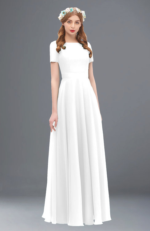 ColsBM Morgan White Bridesmaid Dresses Zip up A-line Traditional Sash Bateau Short Sleeve
