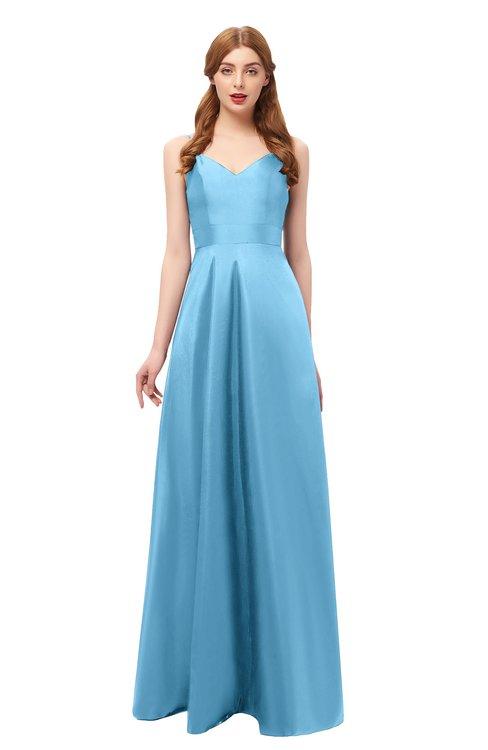 ColsBM Aubrey Alaskan Blue Bridesmaid Dresses V-neck Sleeveless A-line Criss-cross Straps Sash Classic