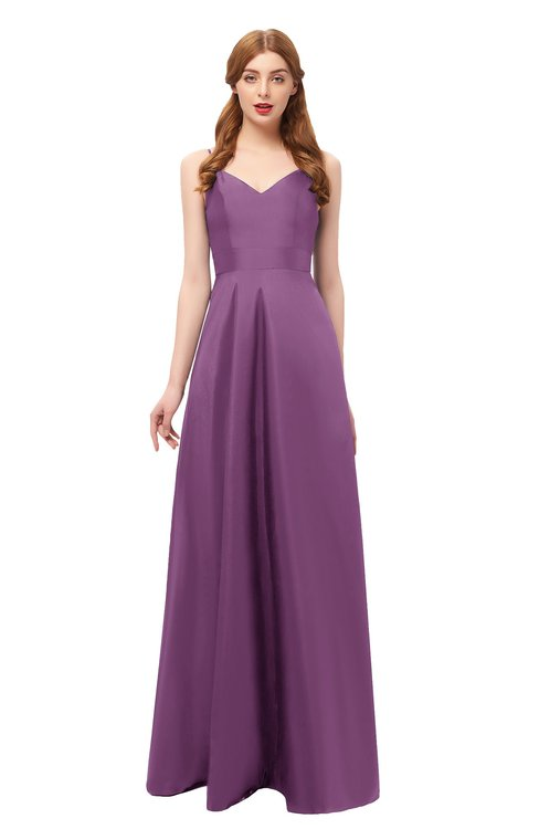 ColsBM Aubrey Argyle Purple Bridesmaid Dresses V-neck Sleeveless A-line Criss-cross Straps Sash Classic