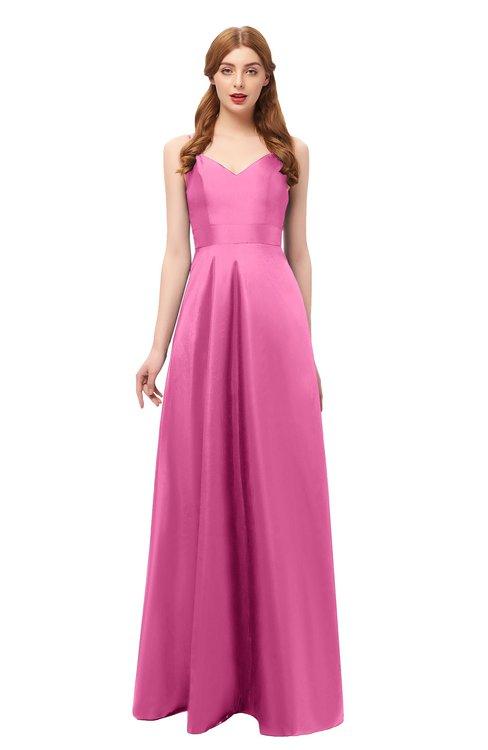 ColsBM Aubrey Carnation Pink Bridesmaid Dresses V-neck Sleeveless A-line Criss-cross Straps Sash Classic