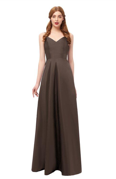 ColsBM Aubrey Chestnut Brown Bridesmaid Dresses V-neck Sleeveless A-line Criss-cross Straps Sash Classic