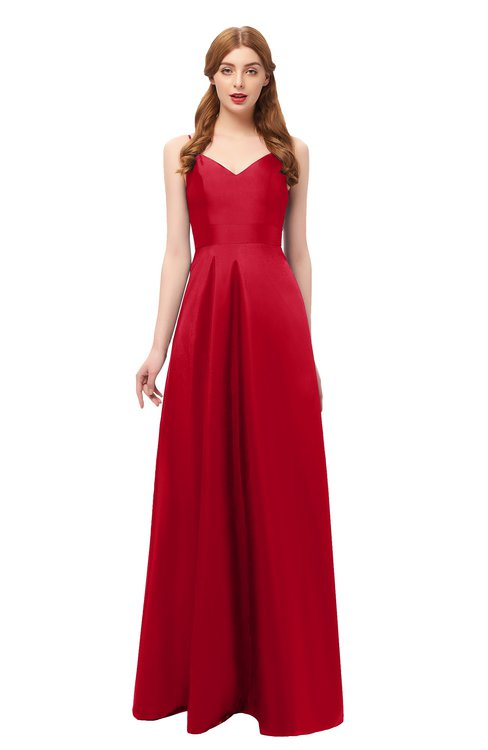 ColsBM Aubrey Red Bridesmaid Dresses V-neck Sleeveless A-line Criss-cross Straps Sash Classic