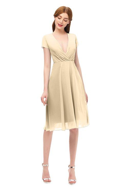 ColsBM Bailey Apricot Gelato Bridesmaid Dresses V-neck Ruching A-line Zipper Knee Length Modern