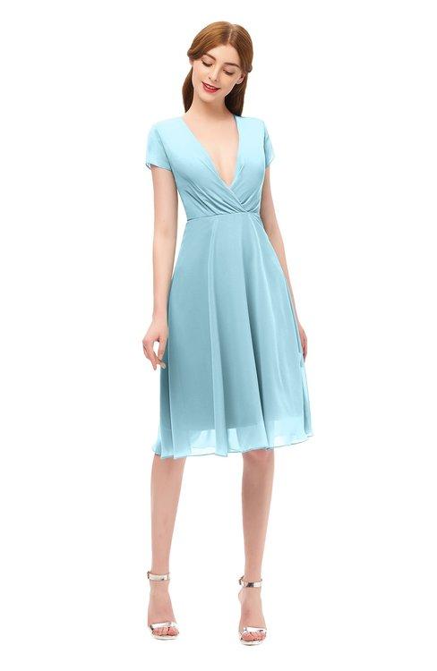 ColsBM Bailey Aqua Bridesmaid Dresses V-neck Ruching A-line Zipper Knee Length Modern