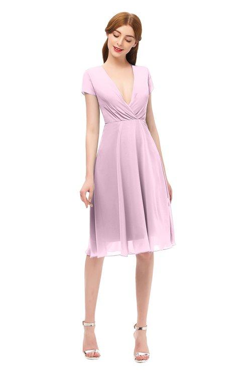 ColsBM Bailey Baby Pink Bridesmaid Dresses V-neck Ruching A-line Zipper Knee Length Modern