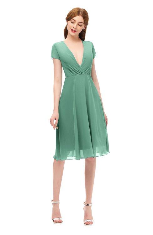 ColsBM Bailey Beryl Green Bridesmaid Dresses V-neck Ruching A-line Zipper Knee Length Modern