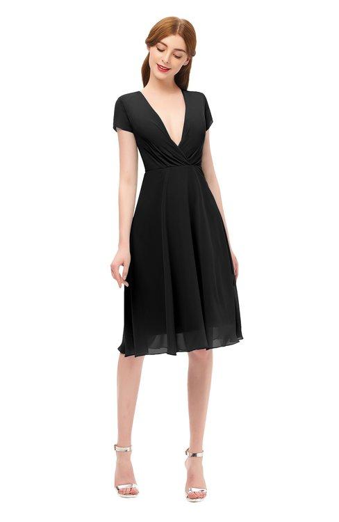 ColsBM Bailey Black Bridesmaid Dresses V-neck Ruching A-line Zipper Knee Length Modern
