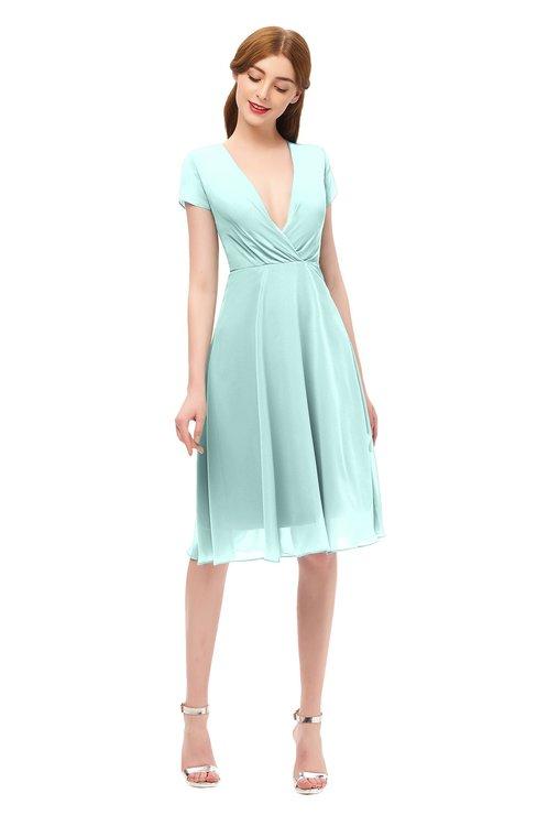 ColsBM Bailey Blue Glass Bridesmaid Dresses V-neck Ruching A-line Zipper Knee Length Modern