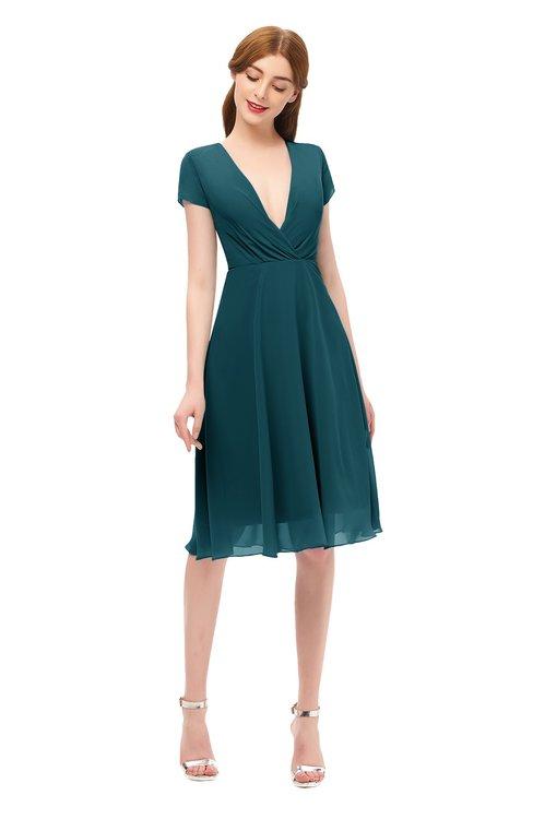 ColsBM Bailey Blue Green Bridesmaid Dresses V-neck Ruching A-line Zipper Knee Length Modern