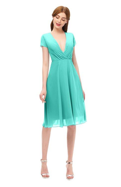ColsBM Bailey Blue Turquoise Bridesmaid Dresses V-neck Ruching A-line Zipper Knee Length Modern