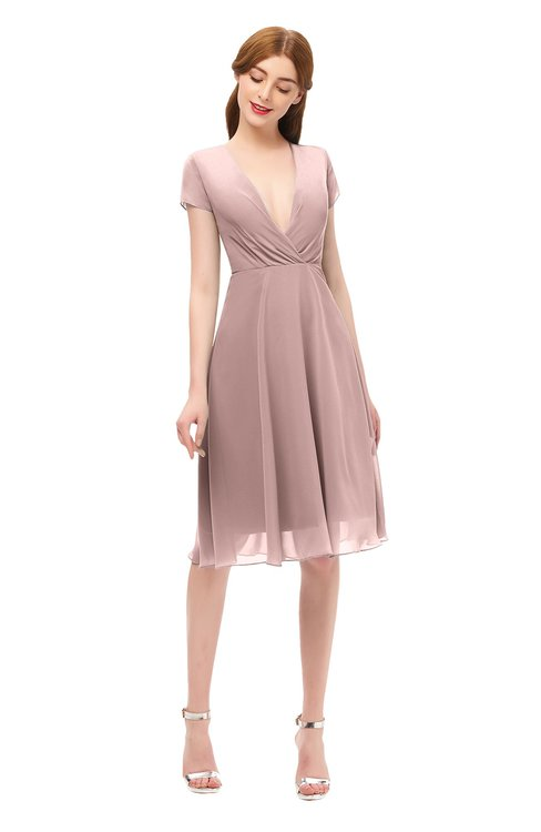 ColsBM Bailey Blush Pink Bridesmaid Dresses V-neck Ruching A-line Zipper Knee Length Modern