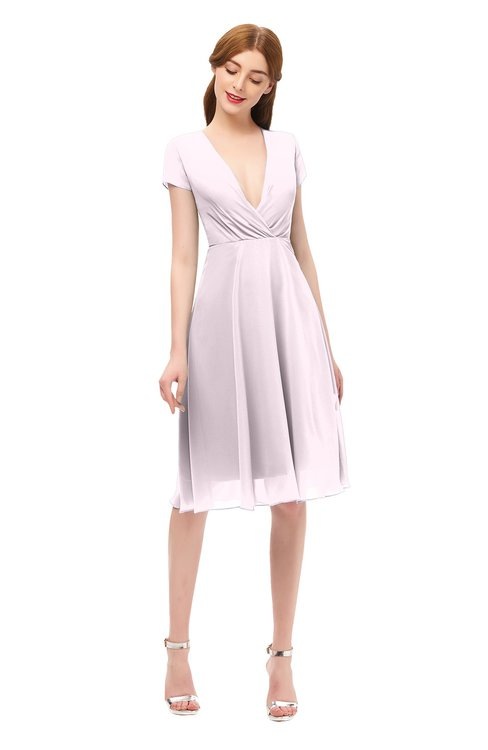 ColsBM Bailey Blush Bridesmaid Dresses V-neck Ruching A-line Zipper Knee Length Modern