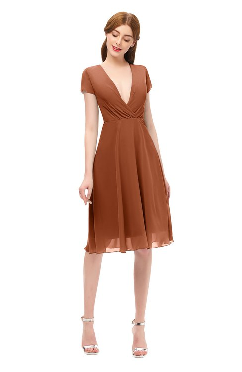 ColsBM Bailey Bombay Brown Bridesmaid Dresses V-neck Ruching A-line Zipper Knee Length Modern