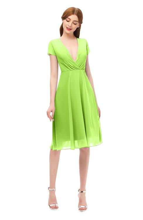 ColsBM Bailey Bright Green Bridesmaid Dresses V-neck Ruching A-line Zipper Knee Length Modern