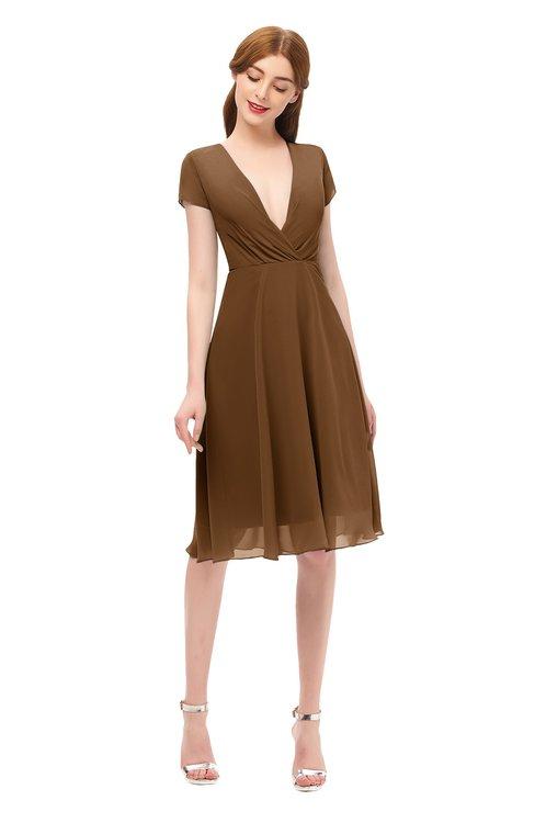 ColsBM Bailey Brown Bridesmaid Dresses V-neck Ruching A-line Zipper Knee Length Modern