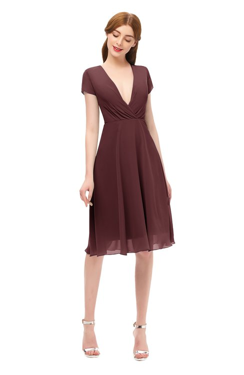 ColsBM Bailey Burgundy Bridesmaid Dresses V-neck Ruching A-line Zipper Knee Length Modern