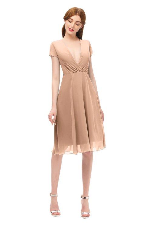 ColsBM Bailey Burnt Orange Bridesmaid Dresses V-neck Ruching A-line Zipper Knee Length Modern