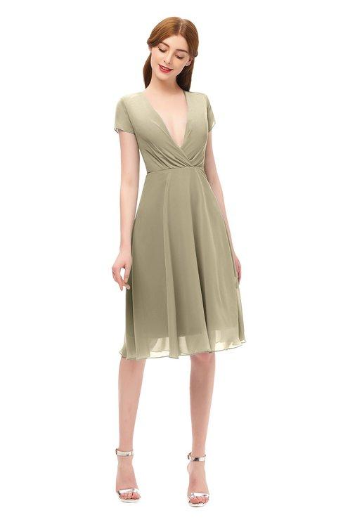 ColsBM Bailey Candied Ginger Bridesmaid Dresses V-neck Ruching A-line Zipper Knee Length Modern