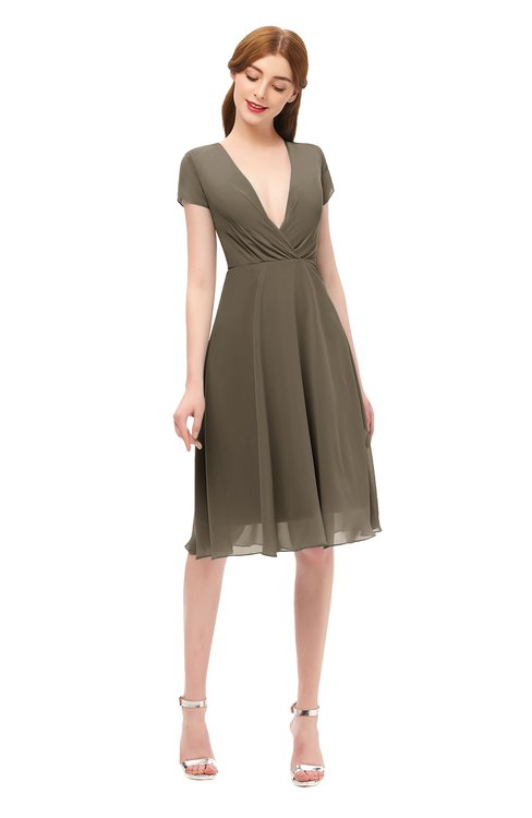 ColsBM Bailey Carafe Brown Bridesmaid Dresses V-neck Ruching A-line Zipper Knee Length Modern