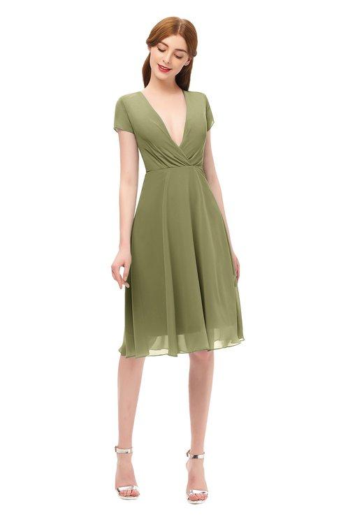 ColsBM Bailey Cedar Bridesmaid Dresses V-neck Ruching A-line Zipper Knee Length Modern