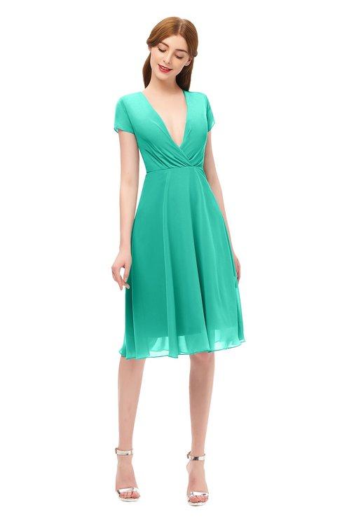ColsBM Bailey Ceramic Bridesmaid Dresses V-neck Ruching A-line Zipper Knee Length Modern