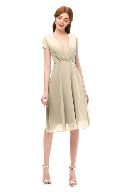 ColsBM Bailey Champagne Bridesmaid Dresses V-neck Ruching A-line Zipper Knee Length Modern