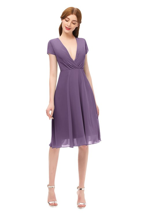 ColsBM Bailey Chinese Violet Bridesmaid Dresses V-neck Ruching A-line Zipper Knee Length Modern