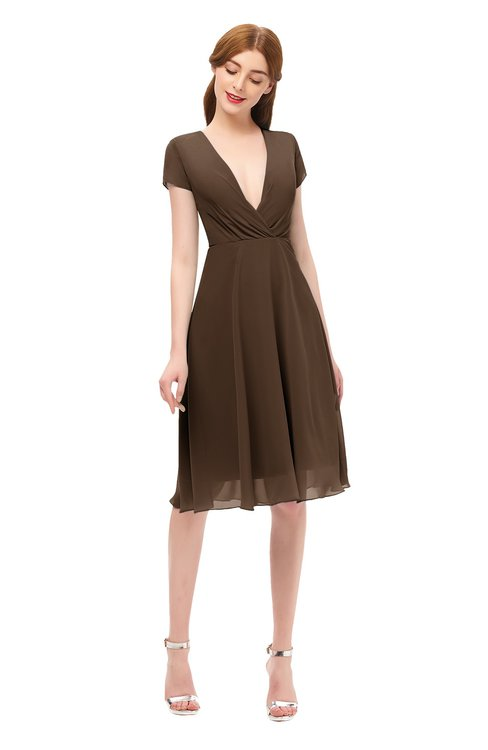 ColsBM Bailey Chocolate Brown Bridesmaid Dresses V-neck Ruching A-line Zipper Knee Length Modern