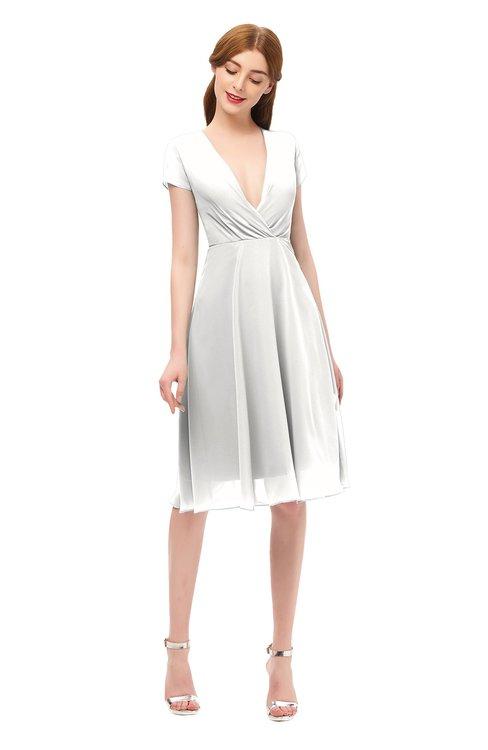 ColsBM Bailey Cloud White Bridesmaid Dresses V-neck Ruching A-line Zipper Knee Length Modern