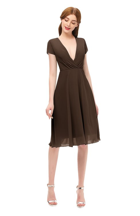 ColsBM Bailey Copper Bridesmaid Dresses V-neck Ruching A-line Zipper Knee Length Modern