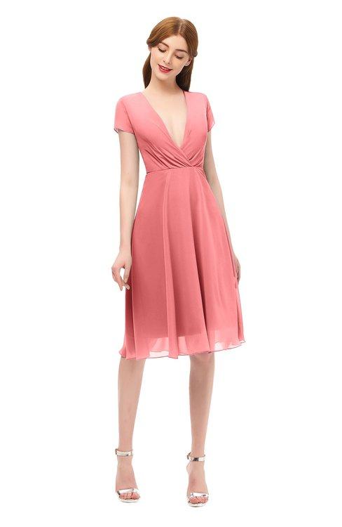 ColsBM Bailey Coral Bridesmaid Dresses V-neck Ruching A-line Zipper Knee Length Modern