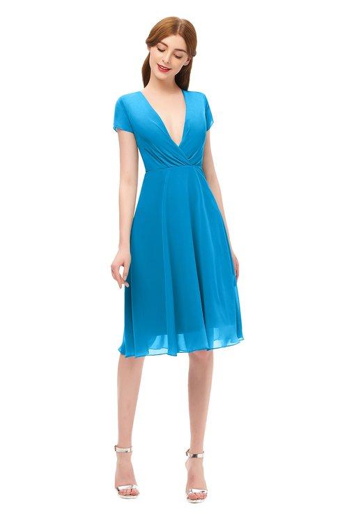 ColsBM Bailey Cornflower Blue Bridesmaid Dresses V-neck Ruching A-line Zipper Knee Length Modern