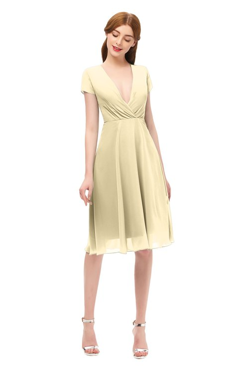 ColsBM Bailey Cornhusk Bridesmaid Dresses V-neck Ruching A-line Zipper Knee Length Modern