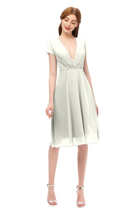 ColsBM Bailey Cream Bridesmaid Dresses V-neck Ruching A-line Zipper Knee Length Modern