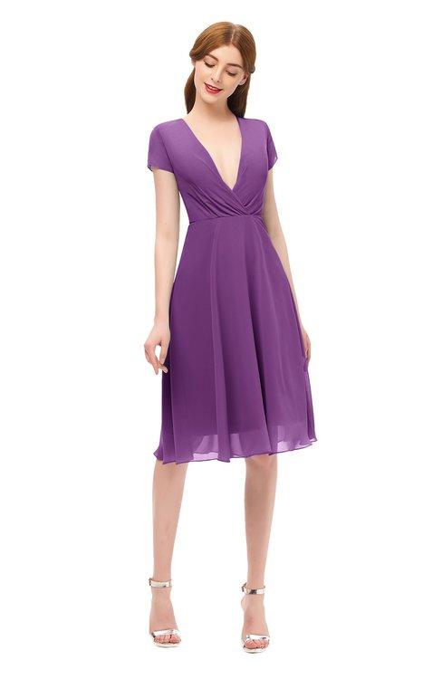 ColsBM Bailey Dahlia Bridesmaid Dresses V-neck Ruching A-line Zipper Knee Length Modern