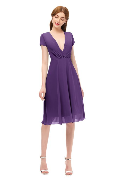 ColsBM Bailey Dark Purple Bridesmaid Dresses V-neck Ruching A-line Zipper Knee Length Modern