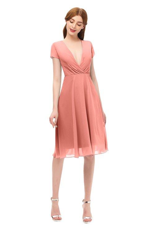 ColsBM Bailey Desert Flower Bridesmaid Dresses V-neck Ruching A-line Zipper Knee Length Modern