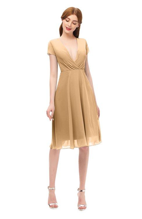 ColsBM Bailey Desert Mist Bridesmaid Dresses V-neck Ruching A-line Zipper Knee Length Modern