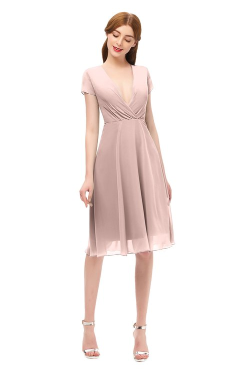 ColsBM Bailey Dusty Rose Bridesmaid Dresses V-neck Ruching A-line Zipper Knee Length Modern