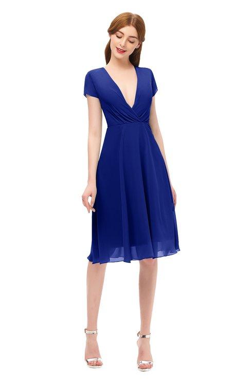 ColsBM Bailey Electric Blue Bridesmaid Dresses V-neck Ruching A-line Zipper Knee Length Modern