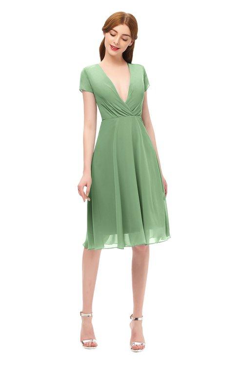 ColsBM Bailey Fair Green Bridesmaid Dresses V-neck Ruching A-line Zipper Knee Length Modern